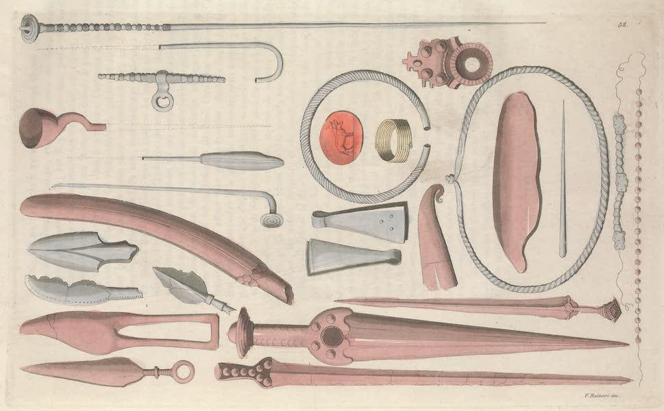 Le Costume Ancien et Moderne [Europe] Vol. 4 - LVIII. Anneaux, bracelets, colliers etc. trouves dans les tombeaux de l'Olsace (1824)