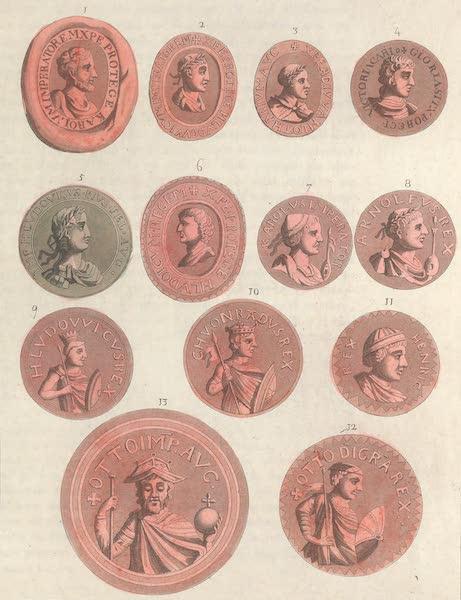 Le Costume Ancien et Moderne [Europe] Vol. 4 - LXV. [Nos. 1-13] No. 1, sceau de Charlemagne : No. 2, sceau de Louis, empereur : No. 3, sceau de Lothaire : No. 4, sceau de Charles-le-Chauve : No. 5, sceau de Louis II, empereur : No. 6, sceau de Louis, roi : No. 7, Medaille de Charles-le-Gros : No. 8, sceau du roi Arnolphe : No. 9, sceau de Louis l'Enfant : No. 10, sceau de Conrad I, roi : No. 11, sceau du roi Henri I.<sup>er</sup> : No. 12, sceau du roi Othon I.<sup>er</sup> : No. 13, sceau d'Othon II (1824)