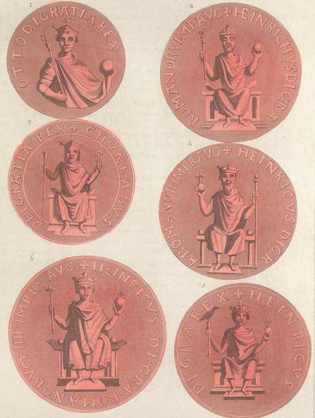 Le Costume Ancien et Moderne [Europe] Vol. 4 - LXVI. [Nos. 1-6] No. 1. sceau d'Othon III : No. 2, sceau de Henri II : No. 3, sceau de Conrad II : No. 4, sceau de Henri III : No. 5, sceau de Henri IV : No. 6, sceau de Lothaire empereur (1824)
