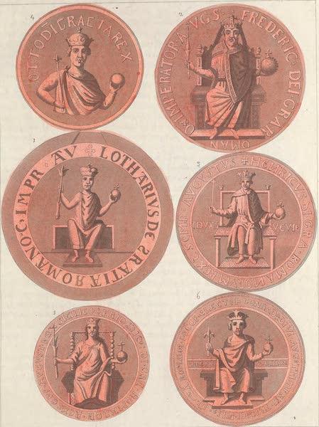 Le Costume Ancien et Moderne [Europe] Vol. 4 - LXVII. [Nos. 1-6] No. 1. sceau de Henri V : No. 2, sceau de Frederic I.<sup>er</sup> Barberousse : No. 3, sceau de Henri VI : No. 4, sceau d'Othon IV : No. 5, sceau de Frederic II : No. 6, sceau de Conrad IV (1824)