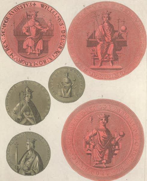 Le Costume Ancien et Moderne [Europe] Vol. 4 - LXVIII. [Nos. 1-6] No. 1. sceau de Rodolphe d'Augsbourg : No. 2, sceau de Guillaume-le-Batave : No. 3, sceau de Richard : No. 4, medaille d'Alphonse : No. 5, medaille du roi Adolphe : No. 6, medaille d'Albert I.<sup>er</sup> (1824)