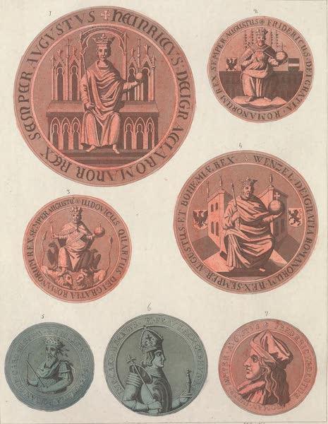 Le Costume Ancien et Moderne [Europe] Vol. 4 - LXIX. [Nos. 1-7] No. 1, sceau de Henri VII : No. 2. sceau de Frederic d'Autriche : No. 3, sceau de Louis IV : No. 4, sceau de l'empereur Venceslas : No. 5, medaille de l'empereur Sigismond : No. 6, medaille d'Albert II : No. 7, sceau de Frederic III (1824)
