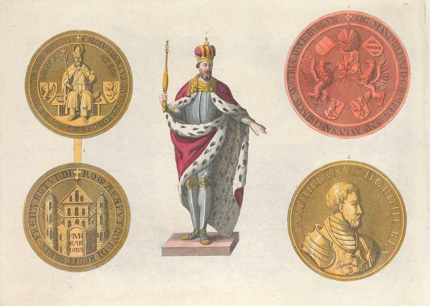 Le Costume Ancien et Moderne [Europe] Vol. 4 - LXX. [Nos. 1-4] No. 1, figure en pied de Charles IV : No. 2, sceau de Charles IV, dit la Bulle d'or, endroit, et revers : No. 3, sceau de Maximilien I.<sup>er</sup> : No. 4, medaille de Maximilien II (1824)