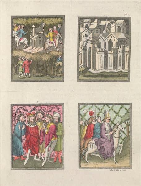 Le Costume Ancien et Moderne [Europe] Vol. 4 - LXXII. Representations de divers objets relatifs aux dispositions de la Bulle d'or, et aux mœurs de cet age prises de quatre, miniatures du meme manuscrit (1824)