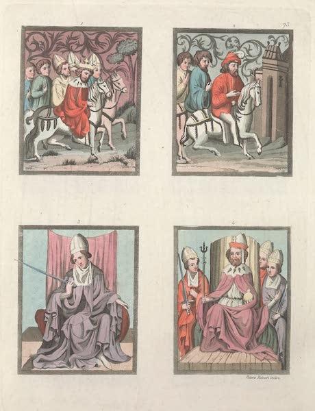 Le Costume Ancien et Moderne [Europe] Vol. 4 - LXXIII. Quatre autres miniatures du meme code. [Nos. 1-4] No. 1. le roi de Boheme accompagne de l'archeveque de Mayence, des eveques de Bamberg et de Wirtzhourg, et des Burgraves de Nuremberg : No. 2, citoyen de Francfort a cheval : No. 3, archeveque electeur de Mayence : No. 4, Charles IV assis sur le trone entoure des eveques electeurs (1824)