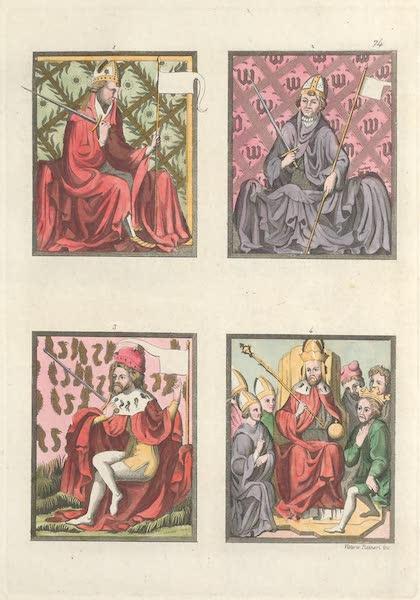 Le Costume Ancien et Moderne [Europe] Vol. 4 - LXXIV. [Nos. 1-4] No. 1., Archeveque electeur de Treves : No. 2, idem de Cologne : No. 3, electeur seculier : No. 4, Charles IV, avec tous les electeurs (1824)