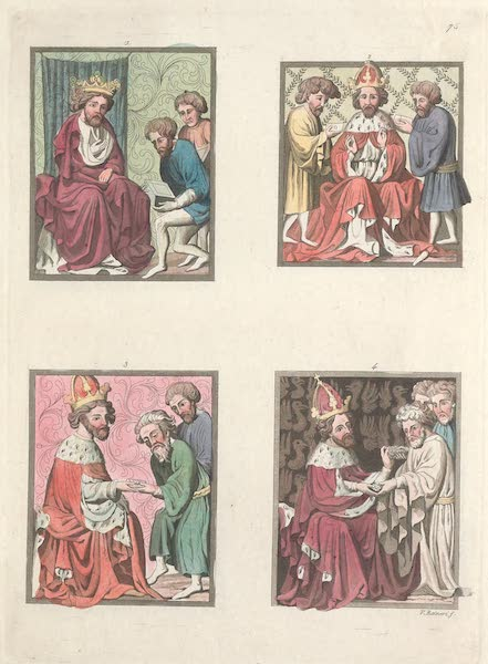 Le Costume Ancien et Moderne [Europe] Vol. 4 - LXXV. No. 1, Monetaires : No. 2, ceremonies de la revocation des privileges : No. 3, delateurs : No. 4, des intimations (1824)