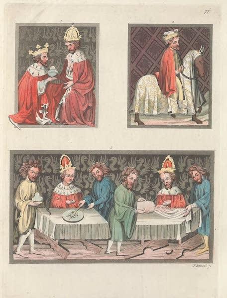 Le Costume Ancien et Moderne [Europe] Vol. 4 - LXXVII. No. 1 et 2, Fonctions de l'Archipincerna et du grand marechal : No. 3, Tables servies pour l'empereur et l'imperatrice avec les dignitaires qui le servent (1824)