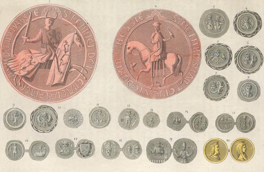 Le Costume Ancien et Moderne [Europe] Vol. 4 - LXXX. No. 1 et 2, Grands sceaux d'un ancien landgrave de la Hesse et de son epouse : Nos. suivans, monnaies de diverses epoques (1824)