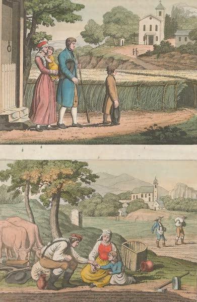 Le Costume Ancien et Moderne [Europe] Vol. 4 - LXXXV. Paysans de l'Autriche, dont les uns vont a l'eglise, et les autres au travail (1824)