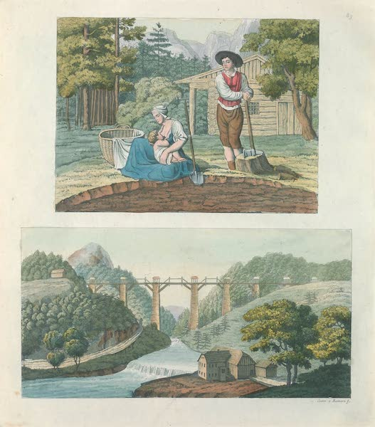 Le Costume Ancien et Moderne [Europe] Vol. 4 - LXXXIX. Aqueduc singulier. Famille de bucherons en Autriche (1824)