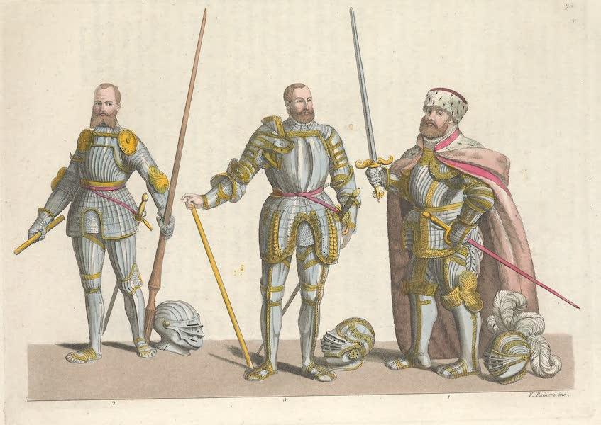 Le Costume Ancien et Moderne [Europe] Vol. 4 - XCV.* No. 1, Jean Frederic duc de Saxe en habit d'Electeur : No. 2, Joachim II, marquis et electeur de Brandebourg : No. 3, Frederic comte de Furstenberg (1824)
