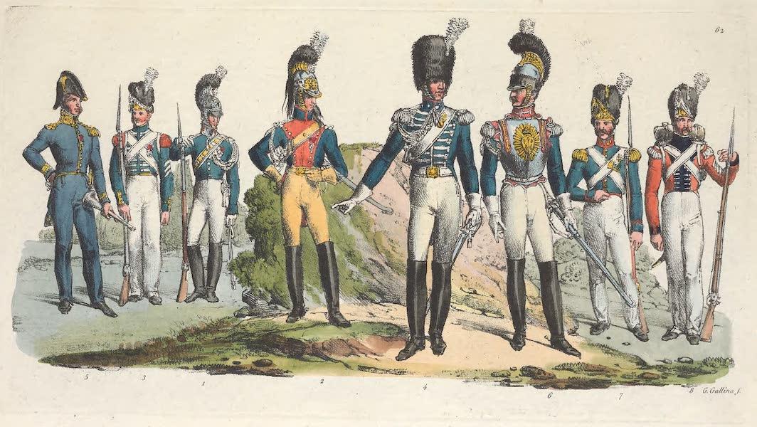 Le Costume Ancien et Moderne [Europe] Vol. 5 - LXII. Un garde du corps, un gendarme des chasses, un garde etc. (1825)