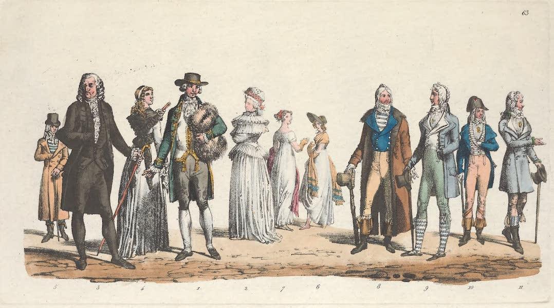 Le Costume Ancien et Moderne [Europe] Vol. 5 - LXIII. Un particulier, une dame en demi-gala, un medecin etc. (1825)
