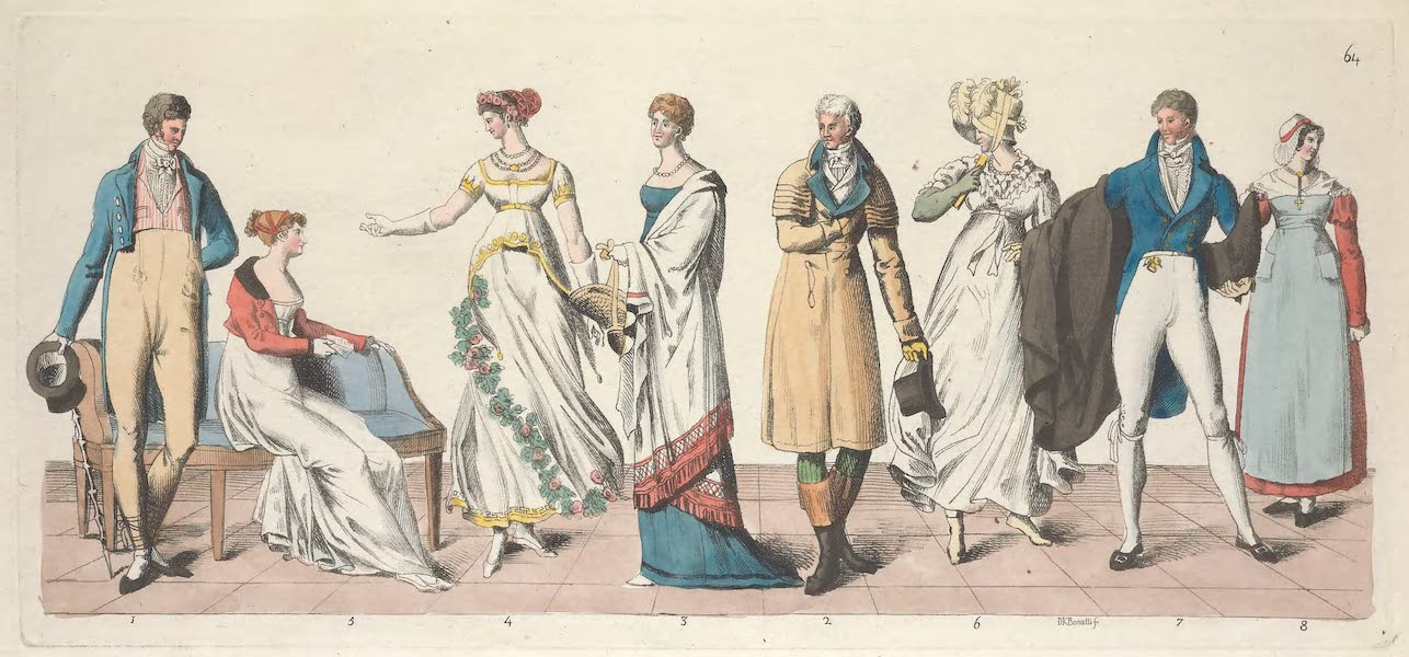 Le Costume Ancien et Moderne [Europe] Vol. 5 - LXIV. Deux particuliers, une dame en habit de bal etc. (1825)