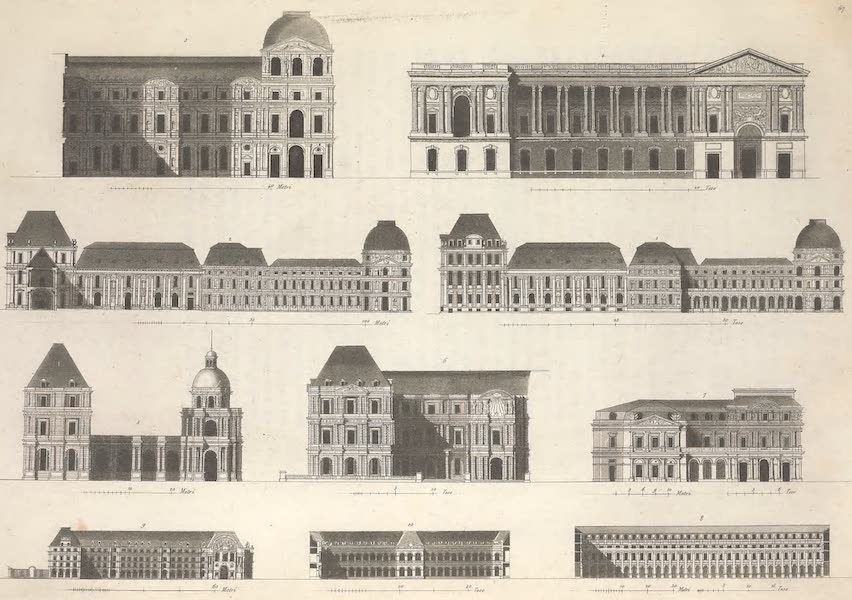 Le Costume Ancien et Moderne [Europe] Vol. 5 - LXVII. Principaux palais de Paris (1825)