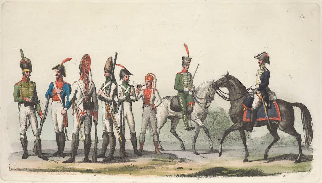 Le Costume Ancien et Moderne [Europe] Vol. 5 - XXXIV. Soldats Espagnols et Portugais [I] (1825)