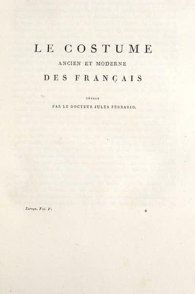 Le Costume Ancien et Moderne [Europe] Vol. 5 - Title Page - Le Costume des Francais (1825)
