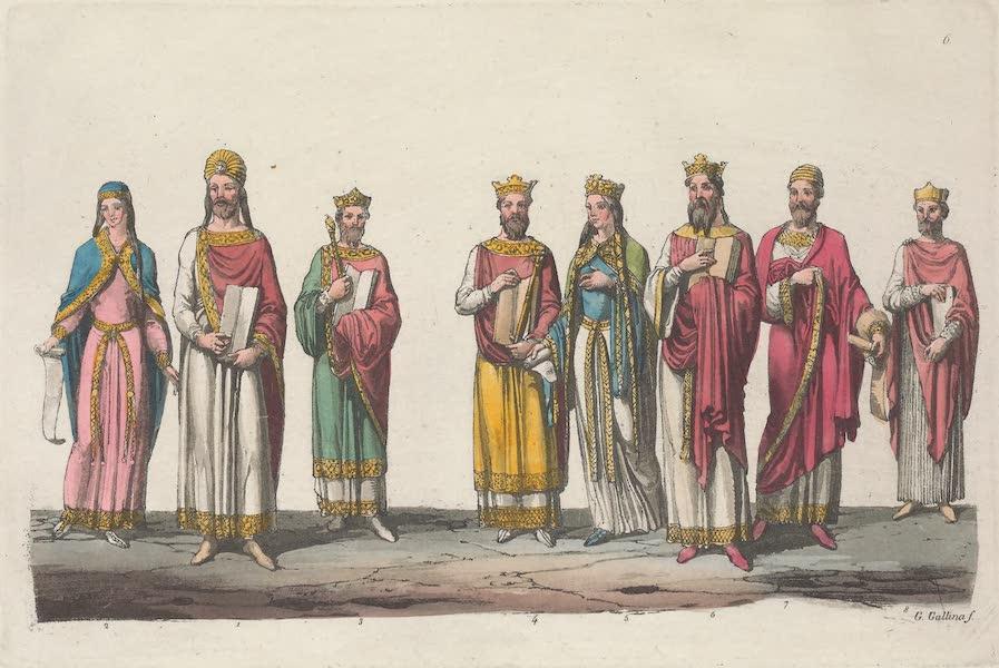 Le Costume Ancien et Moderne [Europe] Vol. 5 - VI. Trone y sceptre, meduille de Dagobert, de Childeric, de Thierry, etc. (1825)