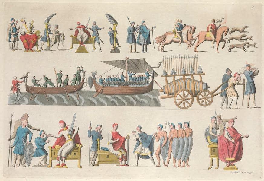 Le Costume Ancien et Moderne [Europe] Vol. 5 - XIV. Tapisseries de la reine Mathilde, representant divers evenemens de la conquete d'Angleterre [I] (1825)