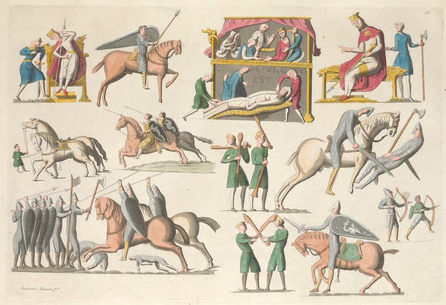 Le Costume Ancien et Moderne [Europe] Vol. 5 - XV. Tapisseries de la reine Mathilde, representant divers evenemens de la conquete d'Angleterre [II] (1825)