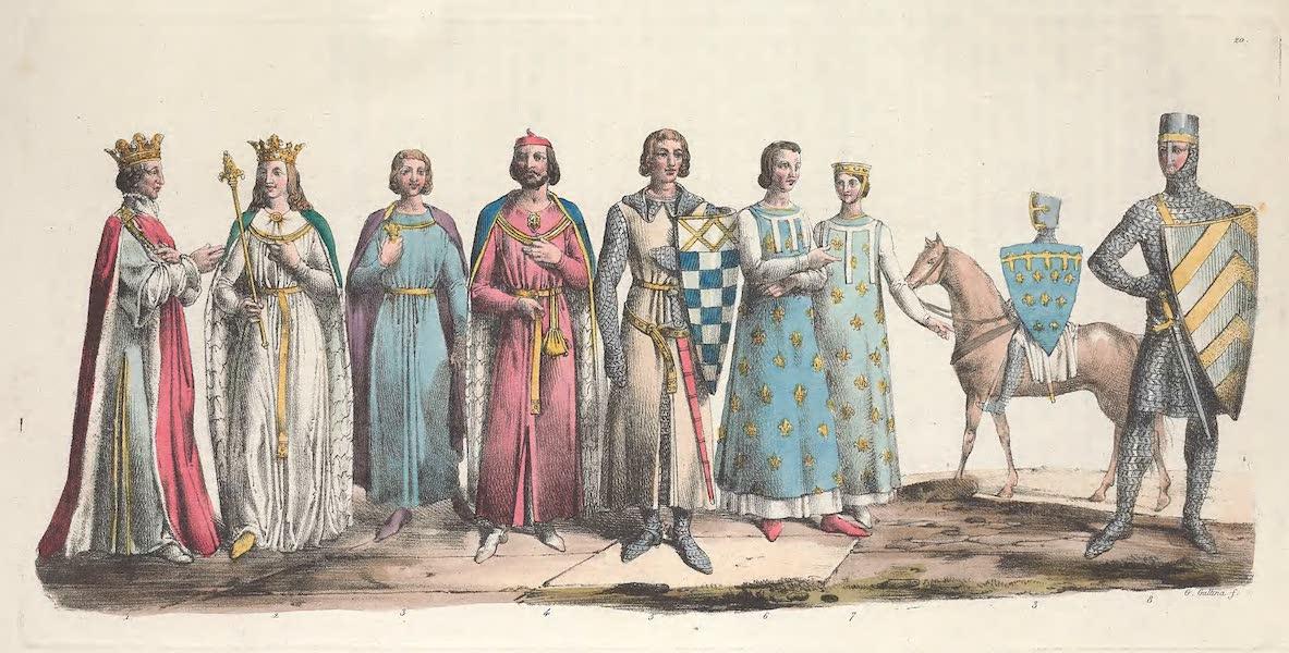 Le Costume Ancien et Moderne [Europe] Vol. 5 - XX. Costume de Philippe-Auguste, d'Ingelburge, de Robert II, duc de Dreux, de Barthelemy de Roye etc. (1825)