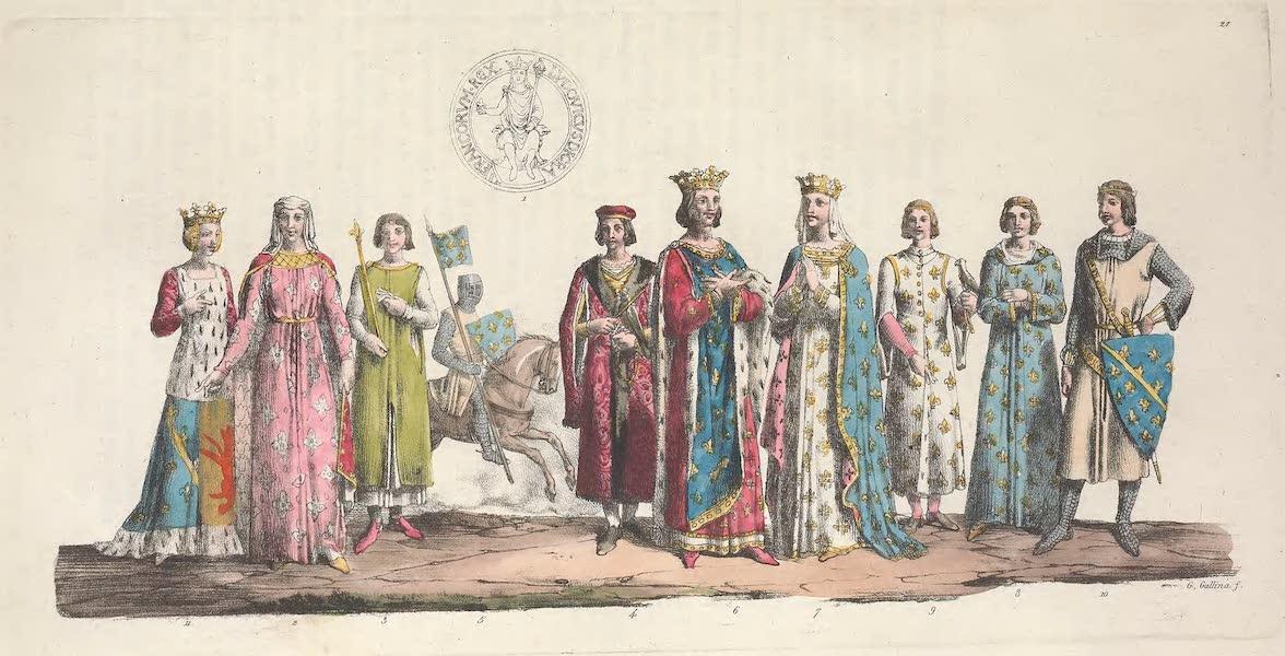Le Costume Ancien et Moderne [Europe] Vol. 5 - XXI. Costume de Louis VIII, de Blanche de Castille etc. (1825)