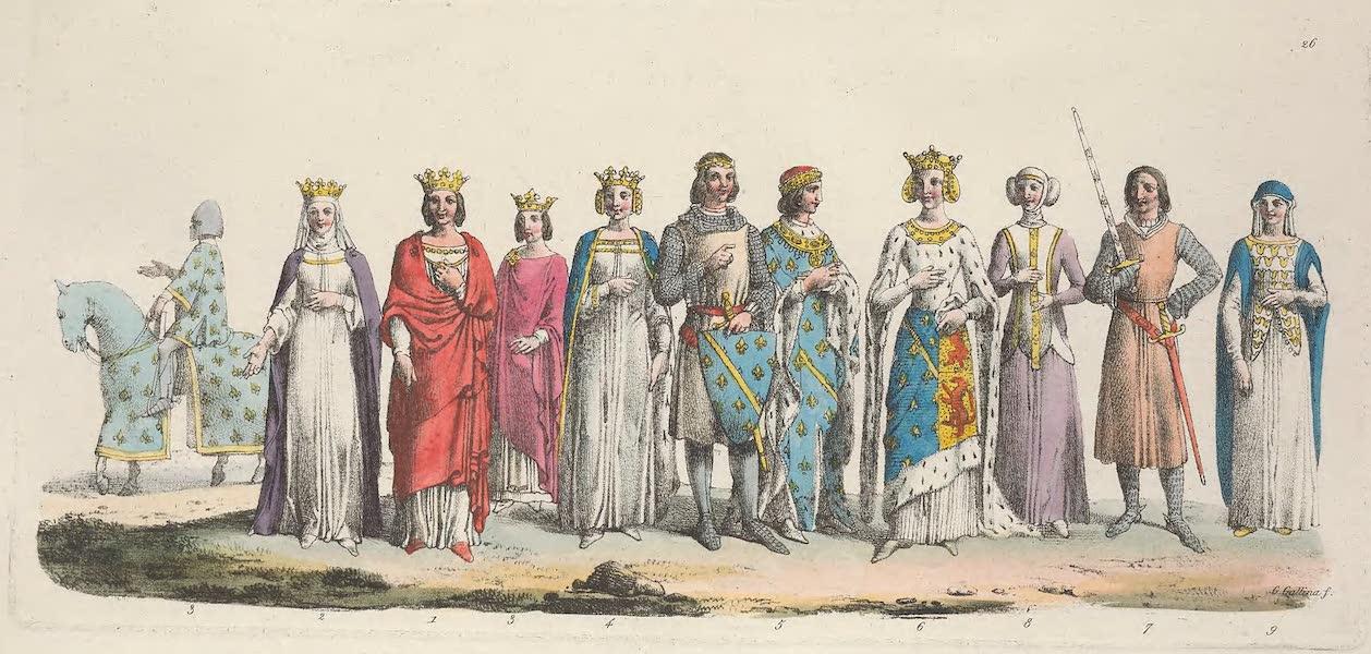 Le Costume Ancien et Moderne [Europe] Vol. 5 - XXVI. Louis X, Clemence de Hongrie, Philippe VI de Valois (1825)