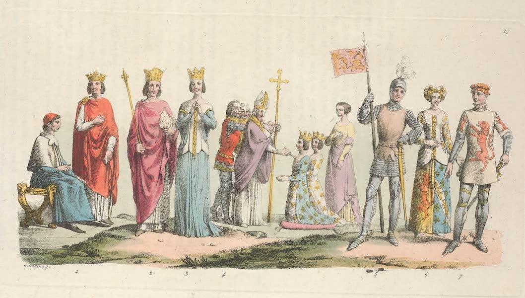 Le Costume Ancien et Moderne [Europe] Vol. 5 - XXVII. Jean-le-hoa, Charles V, Jeanne de Bourbon, sacre des dits souverains etc. (1825)