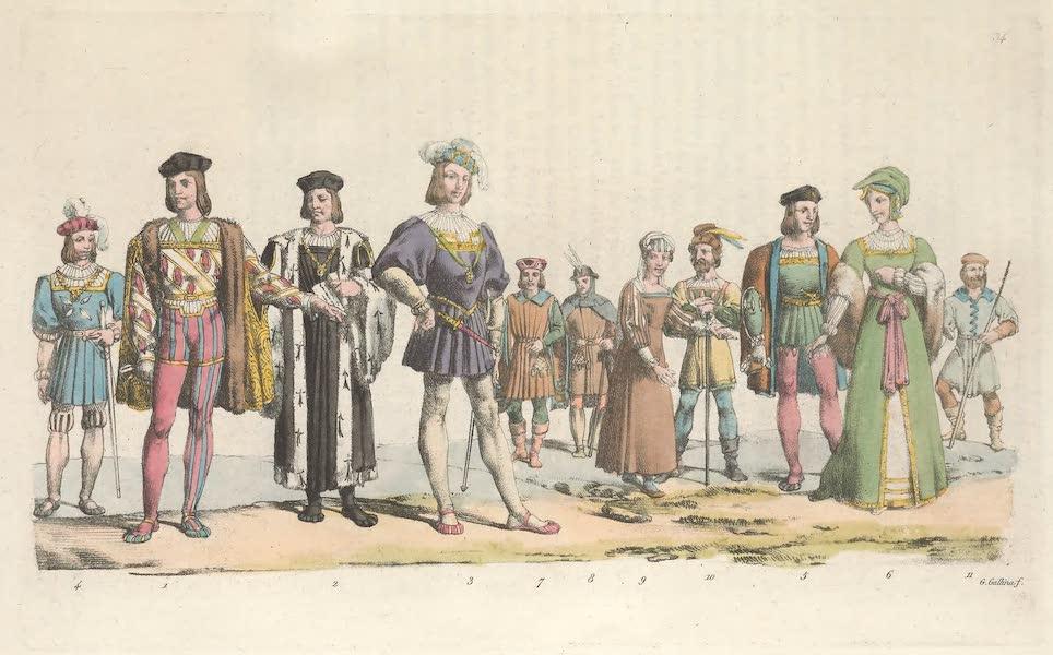 Le Costume Ancien et Moderne [Europe] Vol. 5 - XXXIV. [Nos. 1-8] No. 1. de cette planche represente Charles d'Amboise grand amiral de France et gouverneur de Paris ; le No. 2. un magistrat sous le regne de Louis XII; le No. 3. le fameux duc de Nemours Gaston de Foix ; le No. 4. un officier des gardes du palais ; les No. 5 et 6, des habitans de la ville de l'un et de l'autre sexe ; les No. 7 et 8 un artisanen habit de fete et un paysan (*) (1825)