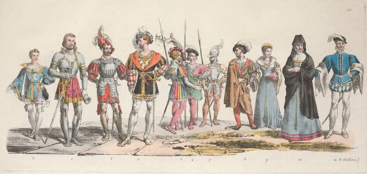 Le Costume Ancien et Moderne [Europe] Vol. 5 - XXXVIII. Le chevalier Bayard, un seigneur et un page de la cour, garde du corps du roi etc. (1825)