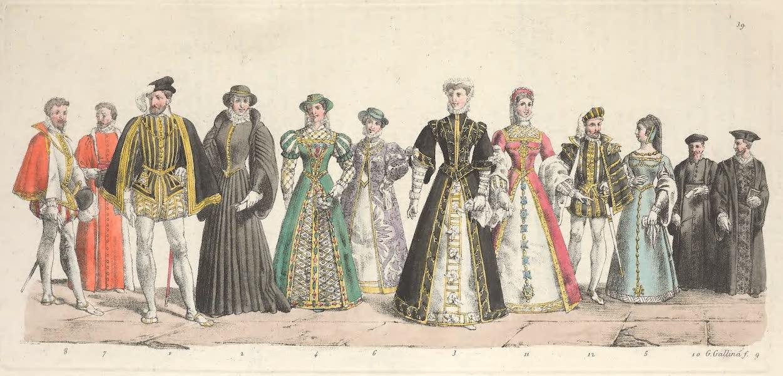 Le Costume Ancien et Moderne [Europe] Vol. 5 - XXXIX. Henri II, Catherine de Medicis, Elisabeth de France etc. (1825)
