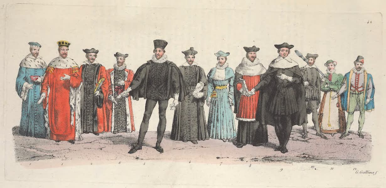 Le Costume Ancien et Moderne [Europe] Vol. 5 - XLII. Un president au Parlement, un conseiller, un chancellier (1825)