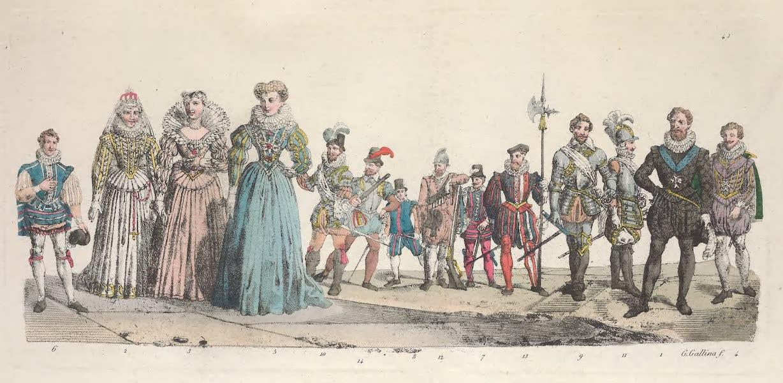 Le Costume Ancien et Moderne [Europe] Vol. 5 - XLIII. Henri IV, Marguerite de France, Marie de Medicis etc. (1825)