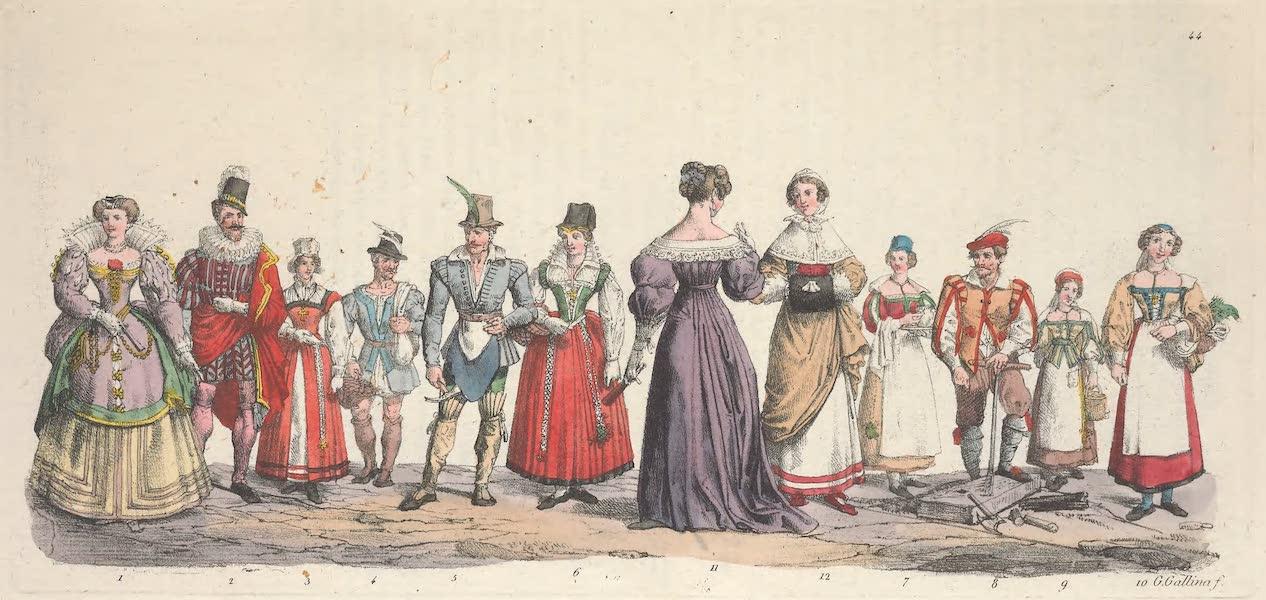 Le Costume Ancien et Moderne [Europe] Vol. 5 - XLIV. Une dame, un bourgeois, un paysan, un artisan etc. (1825)