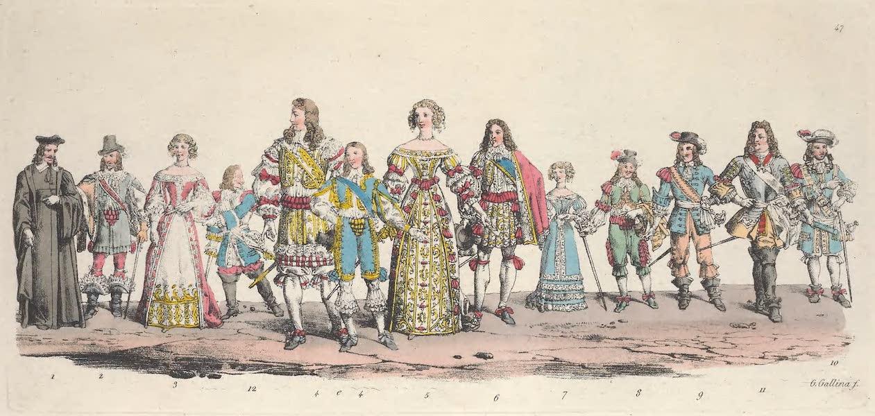 Le Costume Ancien et Moderne [Europe] Vol. 5 - XLVII. Un procureur au Parlement, Louis XIV, Marie Therese d'Autriche reine de France, Philippe d'Orleans, etc. (1825)