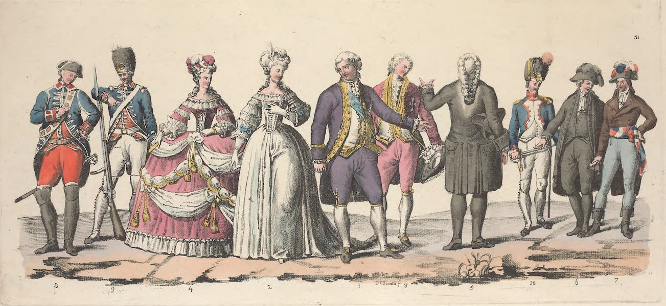 Le Costume Ancien et Moderne [Europe] Vol. 5 - LI. Louis XVI, la reine Marie Antoinette, un conseiller au Parlement etc. (1825)