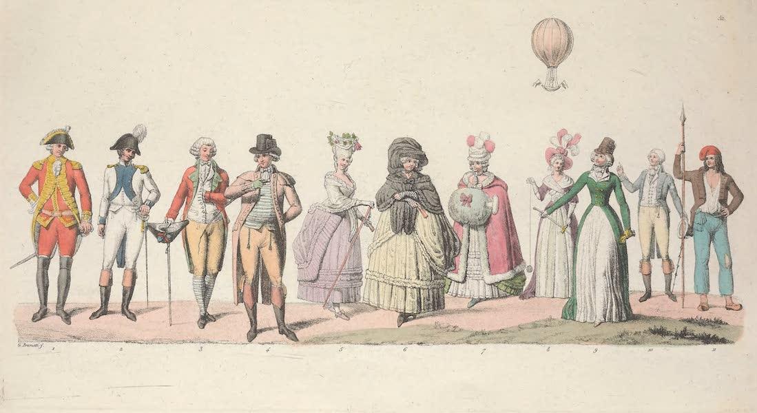 Le Costume Ancien et Moderne [Europe] Vol. 5 - LII. Un soldat des chevauxlegers de la garde du roi, un officier du regiment Bearnais, costume bourgeois etc. (1825)