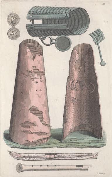 XXXIII. No. 1. Bracelet en bronze ; No. 2. medaille d'or avec des lettres runiques ; No. 3. bouclier scandinave ; No. 4. ancienne slitte finnique ; No. 5. trompette et flute des Scandinaves