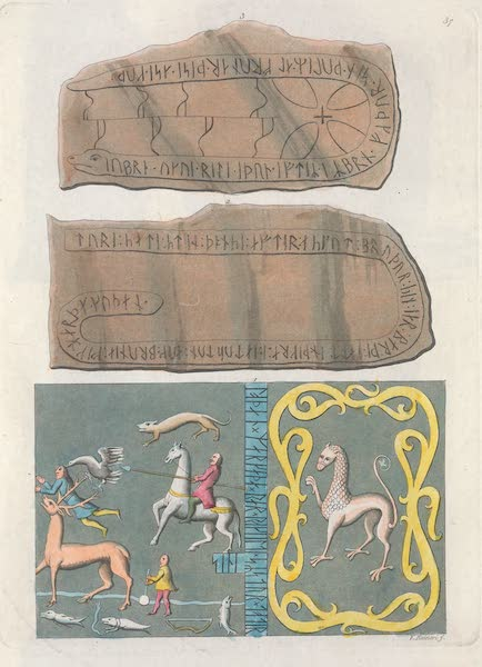 XXXVII. Tapis de l'Adeland. Nos. 1 et 2, pierres et inscriptions runiques