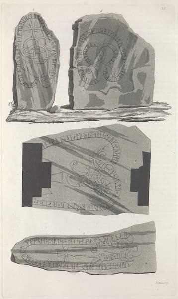 Le Costume Ancien et Moderne [Europe] Vol. 6 - XXXVIII. Pierres et cippes avec des inscriptions runiques, ornement en bronze trouve aupres (1827)