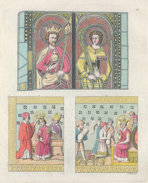 Le Costume Ancien et Moderne [Europe] Vol. 6 - XLII. No. 1. Roi et Rein de Suede du moyen age, No. 2 couronnement d'Eric ; No. 3. clemence du meme prince (1827)