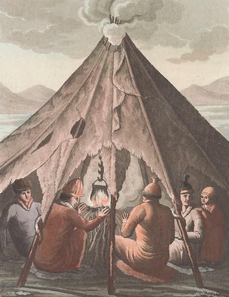 XLIV. Hutte de Lapons avec la famille autour du feu
