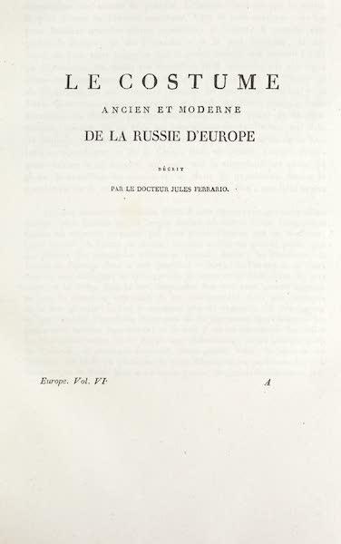 Title Page - Le Costume de la Russie d'Europe