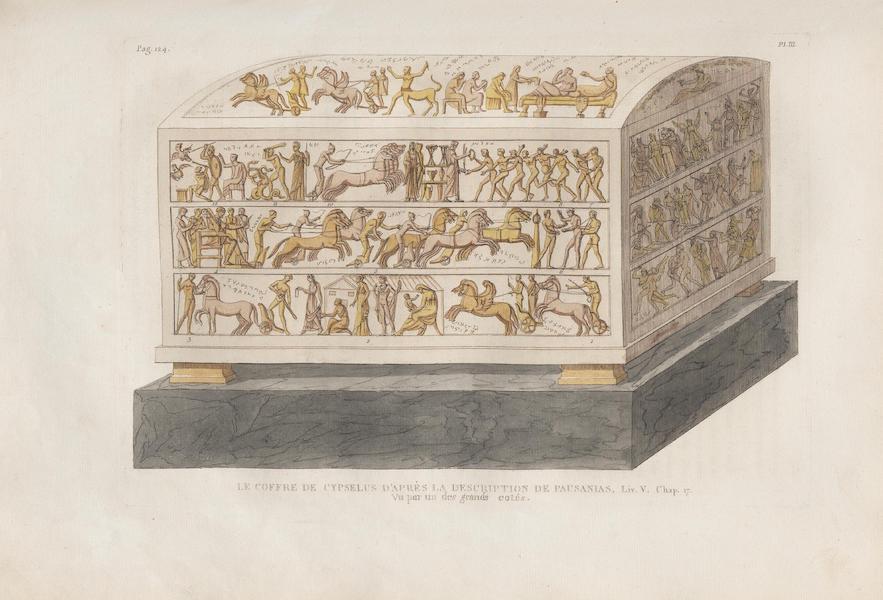 Le Jupiter Olympien - Pl. III. Le coffre de Cypsélus, vu par un des grands côtés (1815)