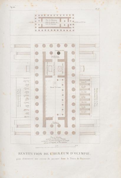 Le Jupiter Olympien - Pl. V. Restitution de l'Herœum d'Olympie (1815)