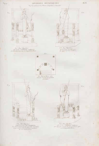 Le Jupiter Olympien - Pl. VI. Diverses hypothèses sur le trône d'Amyclée (1815)