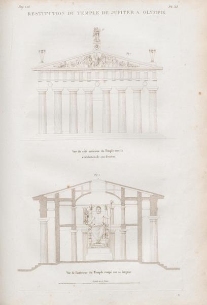 Le Jupiter Olympien - Pl. XI. Restitution du temple de Jupiter à Olympie (1815)