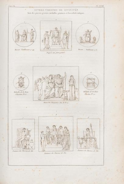 Le Jupiter Olympien - Pl. XVIII. Divers trônes de Divinités, d'après les monuments antiques (1815)