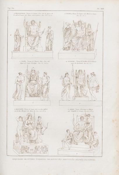 Le Jupiter Olympien - Pl. XIX. Esquisses de divers trônes de Divinités restitués, d'après Pausanias (1815)